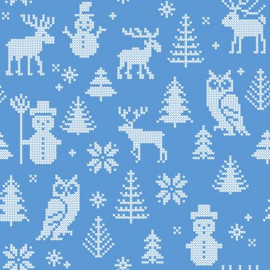 Christmas background with deer for knitting