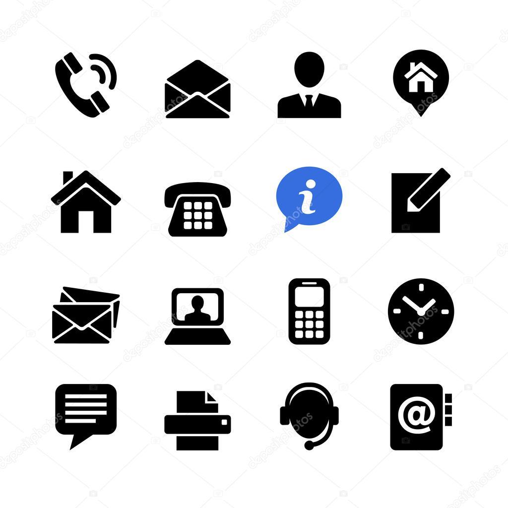 Web communication icon set: contact us