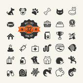 Webové ikony set - pet vet, pet shop, typy domácích zvířat