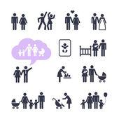 People Family Pictogram. Web icon set.