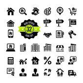 Nastavte 32 web ikony. nemovitosti, pozemky, realitní kanceláře