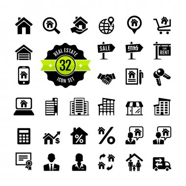 Set 32 web icons. Real Estate, property, realtor stock vector