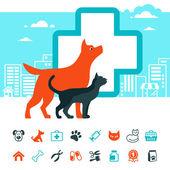 Vektor znak veterinární a domácí sadu ikon