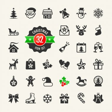 Christmas and winter holidays icon set. 32 vector icons clip art vector