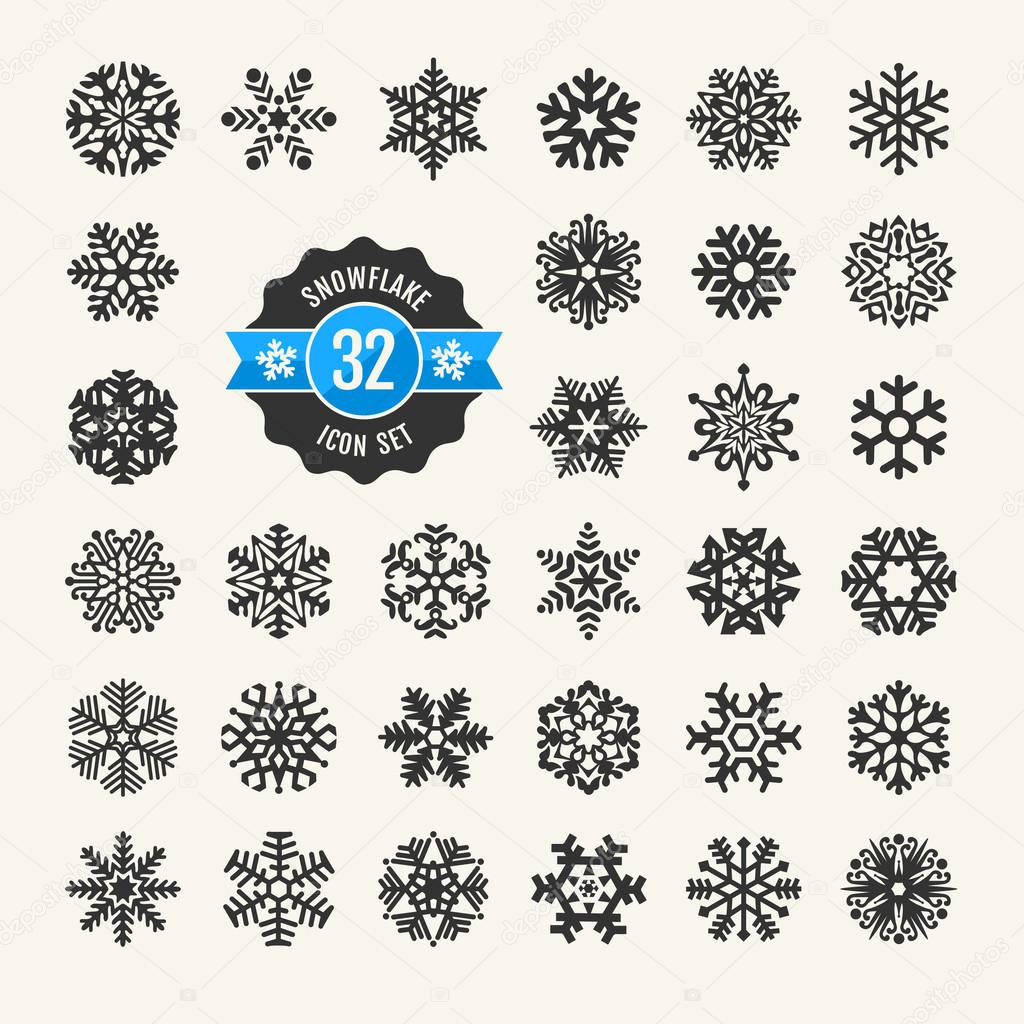 Snowflakes vector collection. Web icon set.