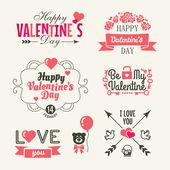 Den svatého Valentýna. sada prvků typografie se srdíčky