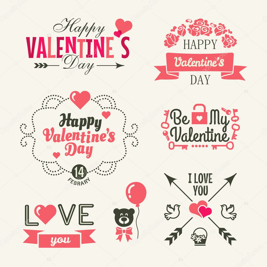 Valentine's day. Set of typography elements with hearts.