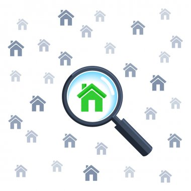 Choosing home with magnifying glass