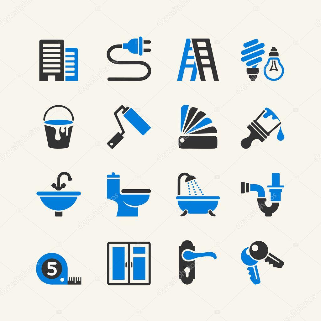 Web icon set - home repairs, plumbing, electrical