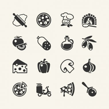 Italian traditional pizza - web icons set