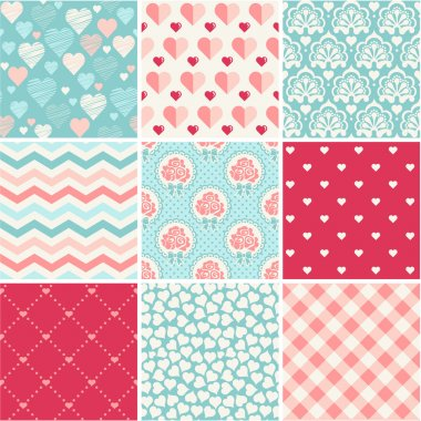 Seamless patterns set - Romance, love and wedding theme