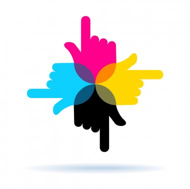 Four hands with pointing finger, vector symbol CMYK colors