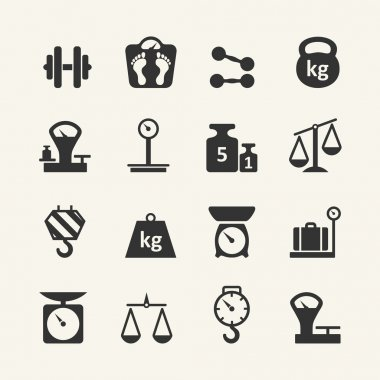 Web icon collection - scales, weighing, weight, balance stock vector