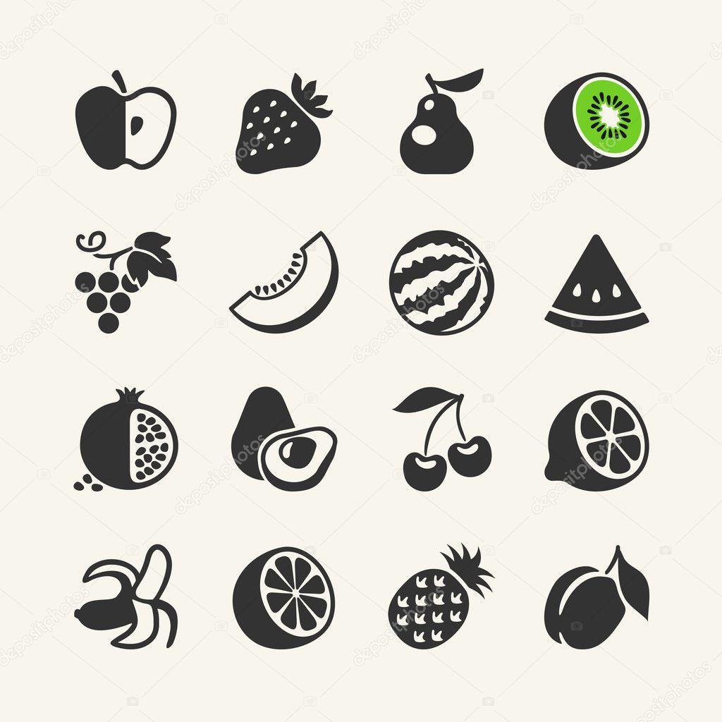 Satz von schwarz einfache Symbole - Früchte und Beeren — Stockvektor ...