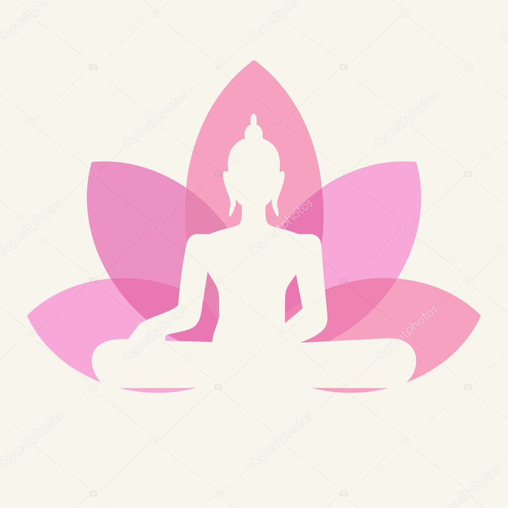 Silhouette of Buddha sitting on a lotus flower background