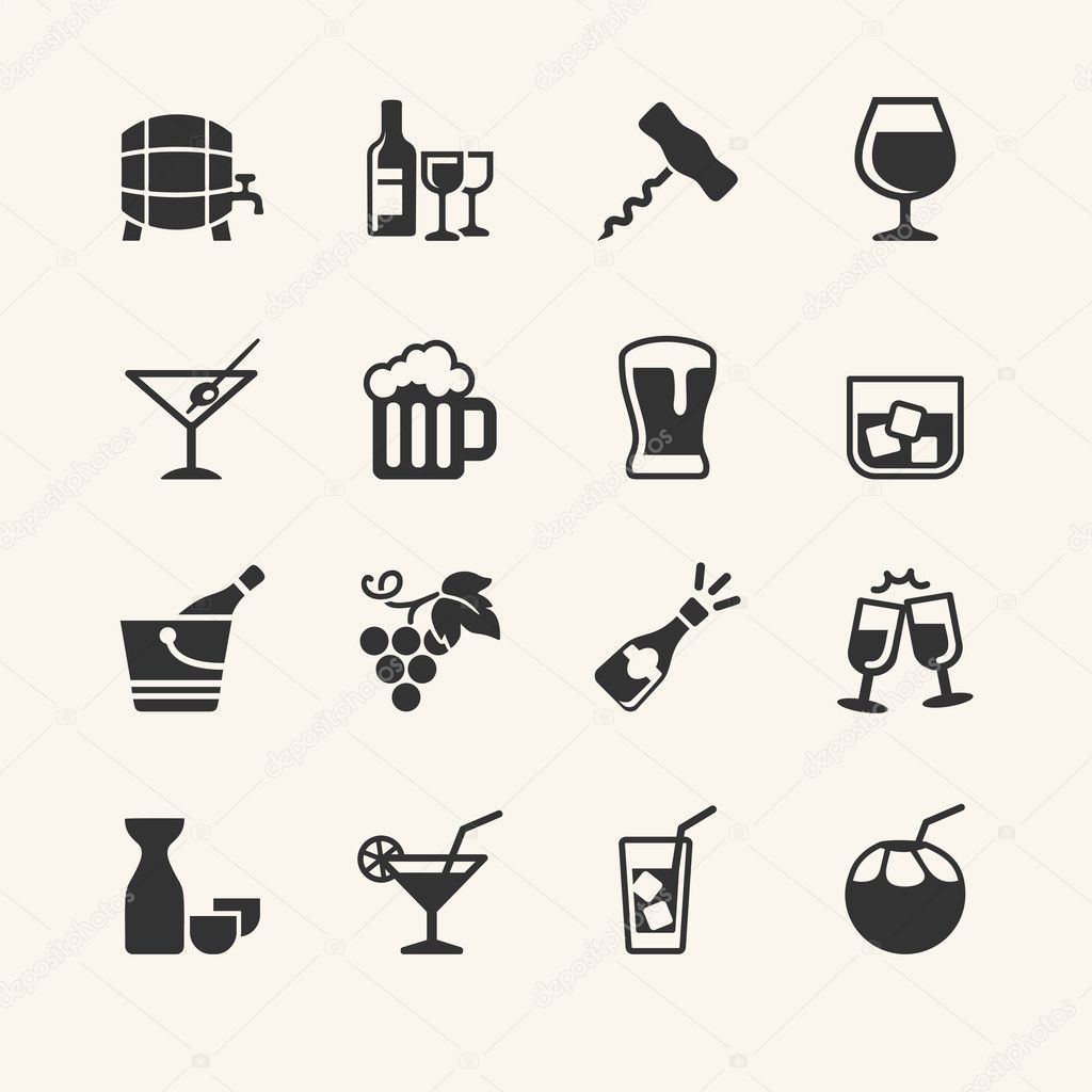 Alcohol drink - icon set