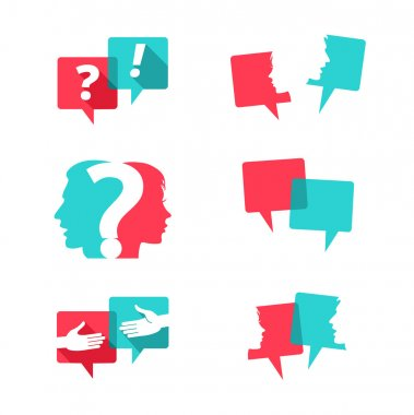 Set of speech bubbles with people faces, handshake and question mark