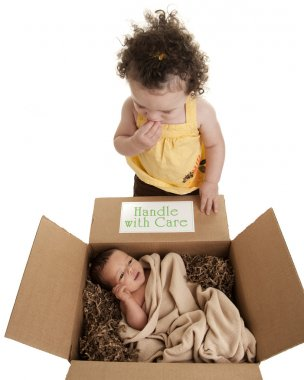 Delivery package containing newborn baby greeted by big sister