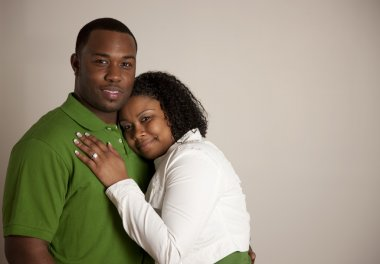 Engaged african american couple in love