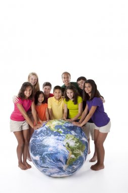 Сhildren of different ethnicities together around globe
