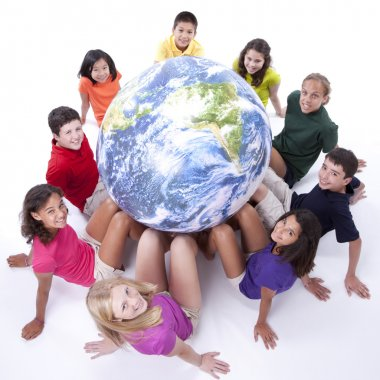 Interracial group of preteens supporting the earth