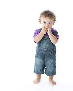 An adorable mixed race toddler