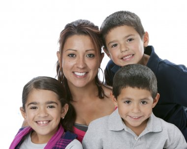 Hispanic single parent family with mother, sons and daughter