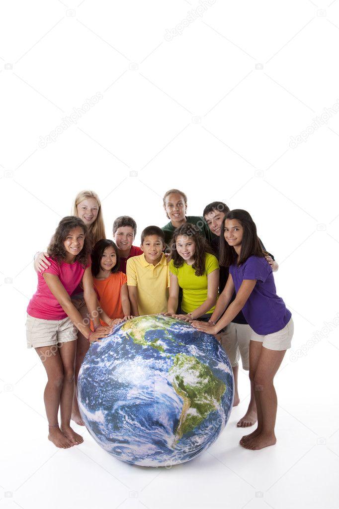 ? ambini di diverse etnie insieme tutto mondo — Foto Stock ...