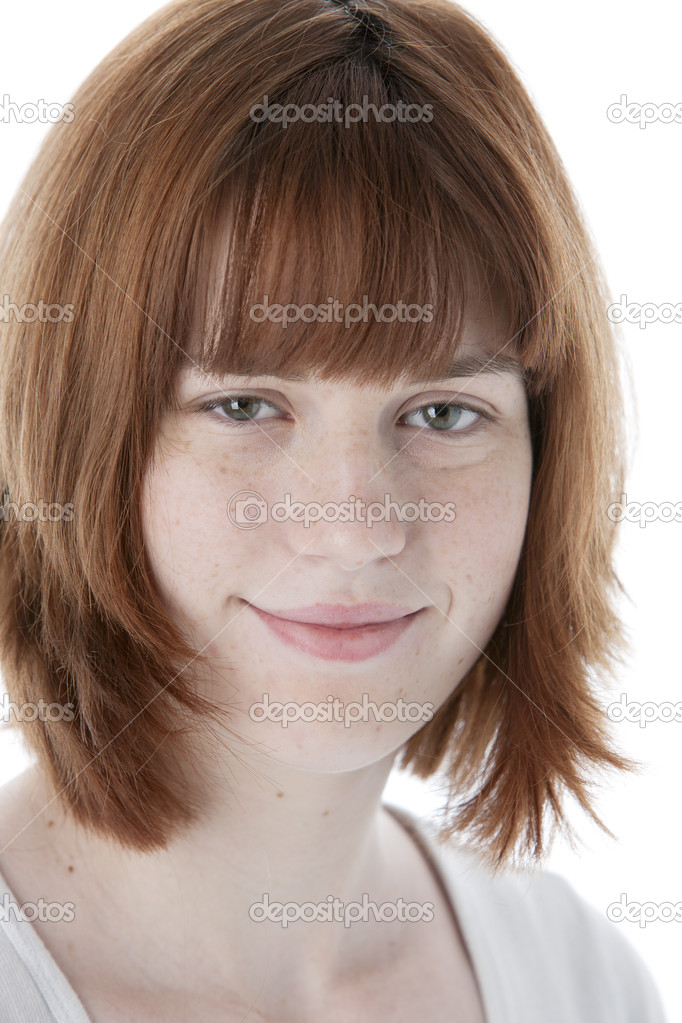 Teenage Caucasian Girl15 Years Old Sitting Outdoors: Smiling Caucasian Teenage Girl With Red Hair