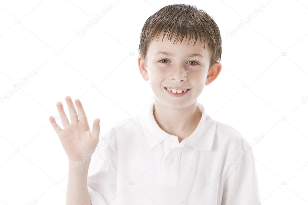 Image of smiling little boy waving hello or good bye ...