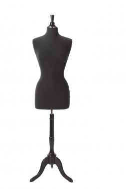 A feminine human form dressmaking mannequin used for sewing or display of fashions.