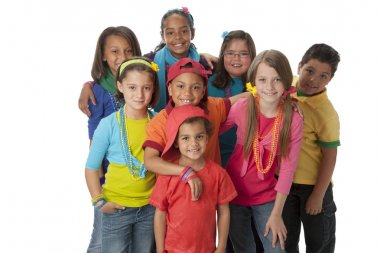Diversity. Diverse group of children wearing vibrant colorful clothes.
