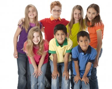 A three quarter length image of a multi-racial group of seven children in colorful clothing standing together as a team. stock vector