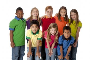 A three quarter length image of a multi-racial group of eight children in colorful clothing standing together as a team. stock vector