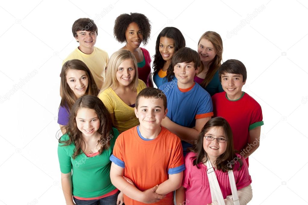 Foto de grupo de defensores adolescentes