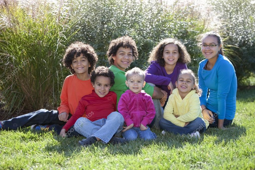 Mixed race children from a large family