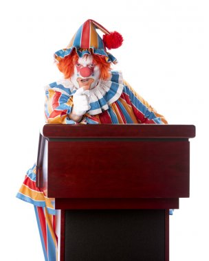 A three quarter length image of an adult clown standing at a podium giving a speech. He is pointing his finger with a serious expression, possibly accusing. stock vector