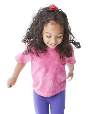 A three quarter length image of a smiling mixed race, black and caucasian, little girl. She is looking down and dancing or running. stock vector