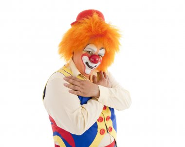 Close up of a professional male clown