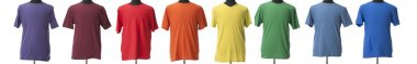 A colorful composite of birght t-shirts for boys or men in the colors of a rainbow