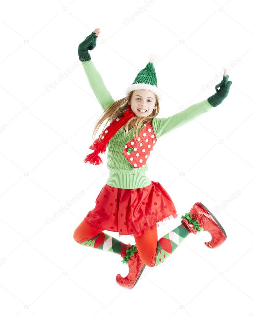Christmas elf jumps in the air