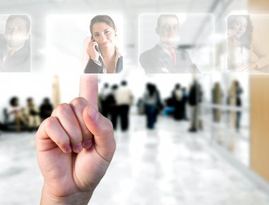 Human Resources concept. Hand choosing employees options