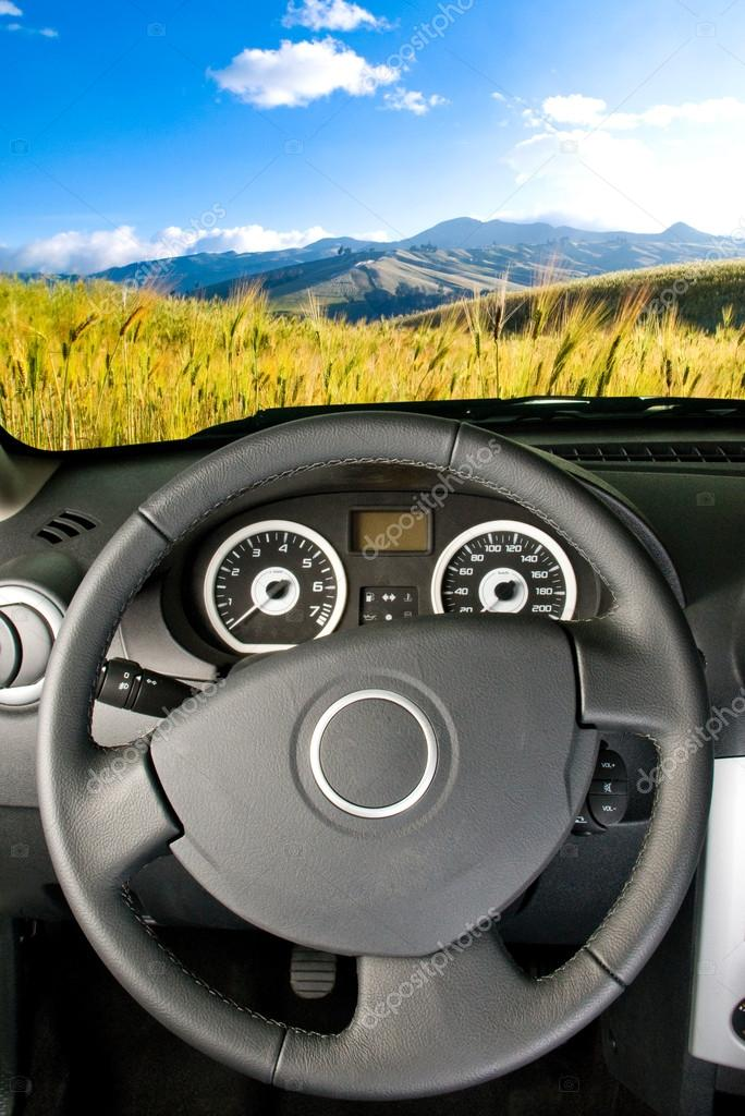Landscape view from a car interior