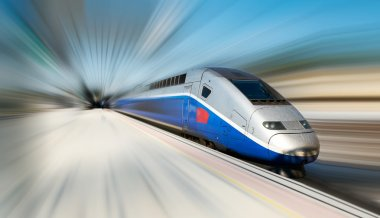 High speed train motion blur