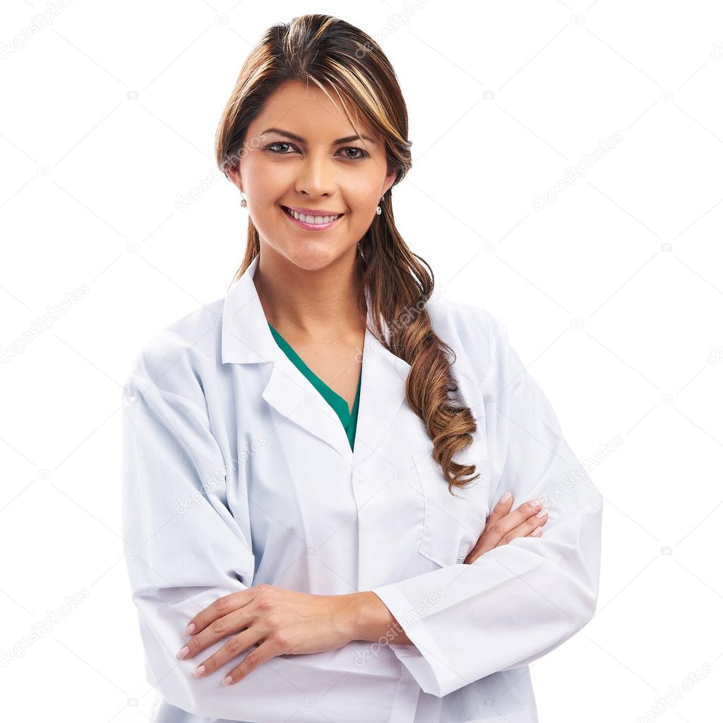 Smiling medical woman doctor. Isolated over white background