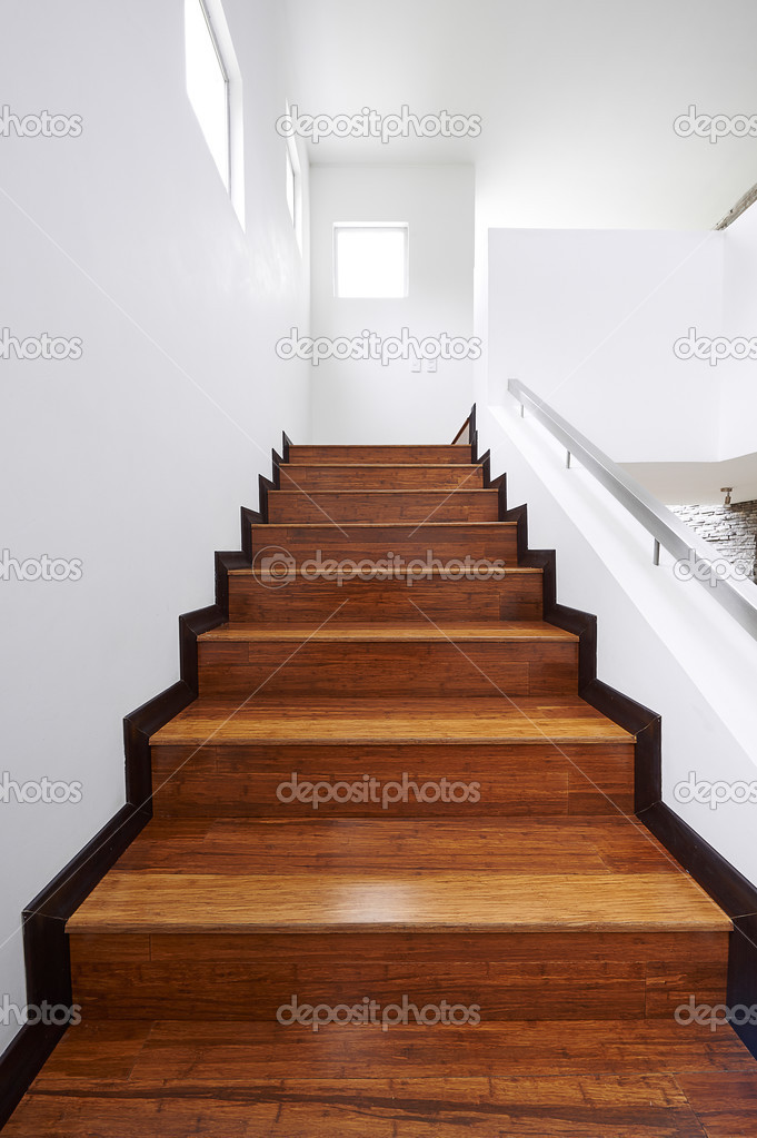 Interior Design: Modern Wooden Stairs U2014 Stock Photo