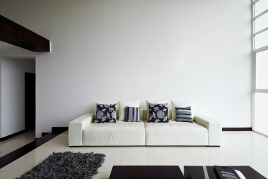 Interior design series: Modern living room with big empty white