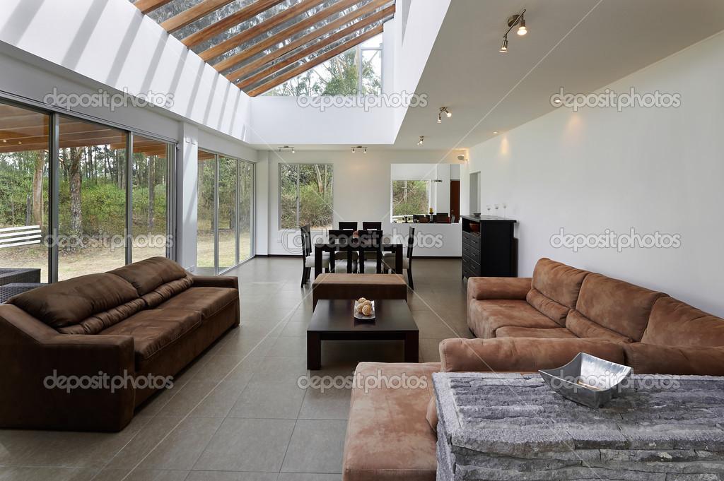 Interieur Moderne Woonkamer Met Grote Lege Witte Muur