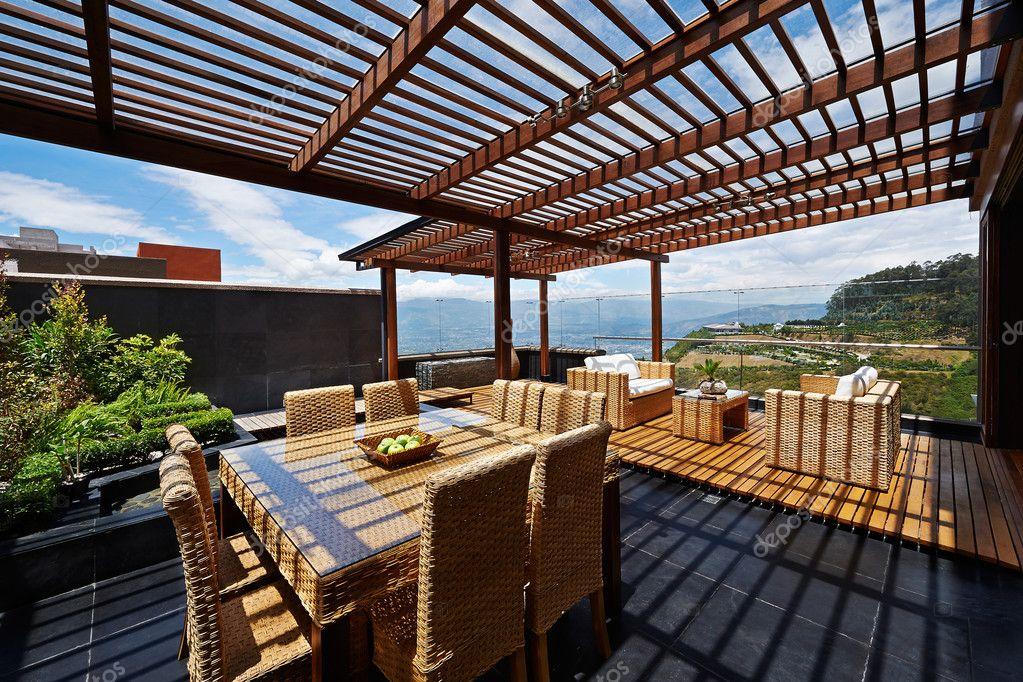 Interior design: Beautiful terrace loung with pergola