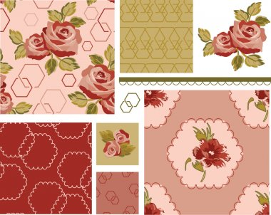 Country Rose Vector Seamless Patterns and Icons.